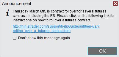 NinjaTrader Rollover Message